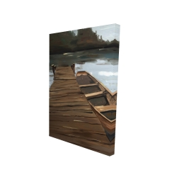 Canvas 24 x 36 - 3D - Lake, dock and boat