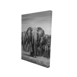 Canvas 24 x 36 - 3D - Herd of elephants