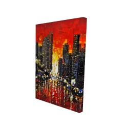 Canvas 24 x 36 - 3D - Abstract sunset on the city