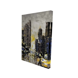 Canvas 24 x 36 - 3D - Abstract and texturized city with yellow taxis