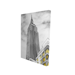 Canvas 24 x 36 - 3D - Outline of empire state building