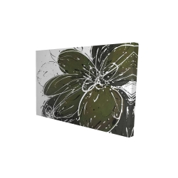 Canvas 24 x 36 - 3D - Green flower with splash outline