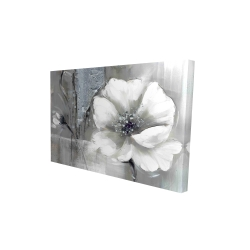 Canvas 24 x 36 - 3D - Monochrome and silver flowers