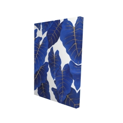 Canvas 24 x 36 - 3D - Tropical abstract blue leaves
