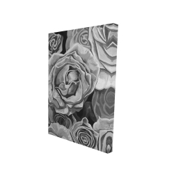 Canvas 24 x 36 - 3D - Grayscale roses