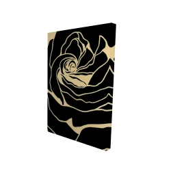 Canvas 24 x 36 - 3D - Cutout black rose