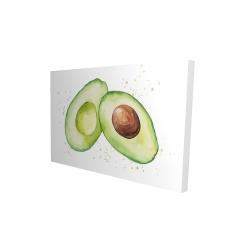 Canvas 24 x 36 - 3D - Watercolor open avocado