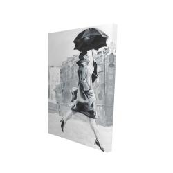 Canvas 24 x 36 - 3D - Woman in the rain