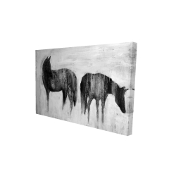 Canvas 24 x 36 - 3D - Horses silhouettes in the mist