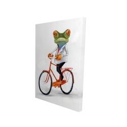 Canvas 24 x 36 - 3D - Funny frog riding a bike