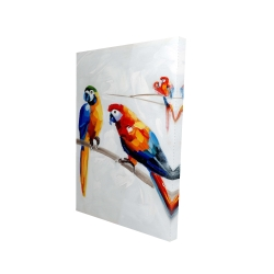 Canvas 24 x 36 - 3D - Parrots on a branch