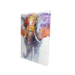 Canvas 24 x 36 - 3D - Colorful walking elephant