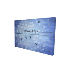 Canvas 24 x 36 - 3D - Birds on a wire with a clear blue sky