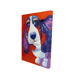 Canvas 24 x 36 - 3D - Abstract colorful basset dog