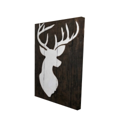 Canvas 24 x 36 - 3D - White silhouette of a deer on wood