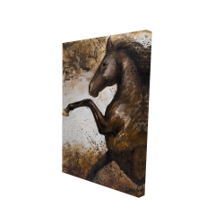 Canvas 24 x 36 - 3D - Horse rushing into the soil