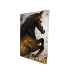 Canvas 24 x 36 - 3D - Horse rushing into the dust