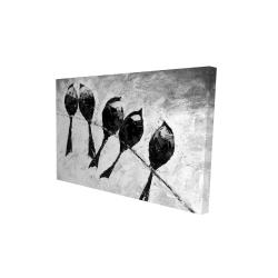 Canvas 24 x 36 - 3D - Five birds perched
