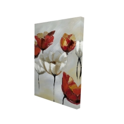 Canvas 24 x 36 - 3D - Abstract red and white flowers