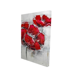 Canvas 24 x 36 - 3D - Abstract and texturized red flowers