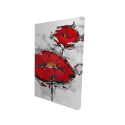 Canvas 24 x 36 - 3D - Texturized red poppies