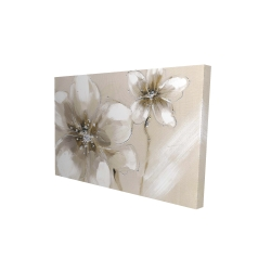 Canvas 24 x 36 - 3D - Two cream flowers