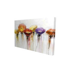 Canvas 24 x 36 - 3D - Multiple colorful abstract flowers