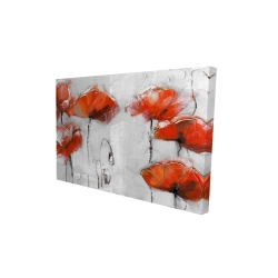 Canvas 24 x 36 - 3D - Red flowers
