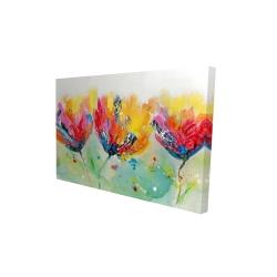 Canvas 24 x 36 - 3D - Four colorful flowers