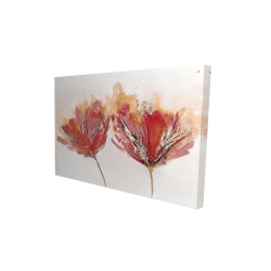 Canvas 24 x 36 - 3D - Crimson flowers and butterfly
