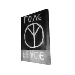 Canvas 24 x 36 - 3D - Peace love monochrome
