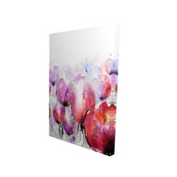 Canvas 24 x 36 - 3D - Pink tulips field