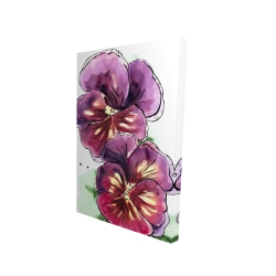 Canvas 24 x 36 - 3D - Two blossoming orchid with wavy petals
