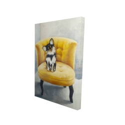 Canvas 24 x 36 - 3D - Long-haired chihuahua on a yellow armchair