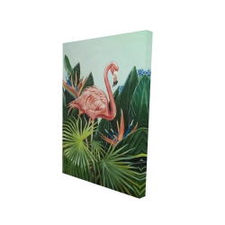 Canvas 24 x 36 - 3D - Tropical flamingo