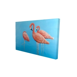 Canvas 24 x 36 - 3D - Group of flamingos