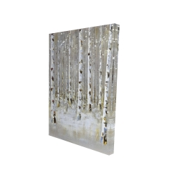 Canvas 24 x 36 - 3D - Birch forest by winter