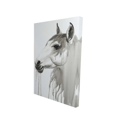 Canvas 24 x 36 - 3D - Beautiful white horse