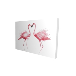 Canvas 24 x 36 - 3D - Two pink flamingo watercolor