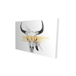 Canvas 24 x 36 - 3D - Cow skull with feather