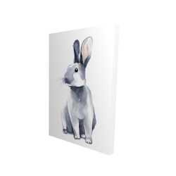 Canvas 24 x 36 - 3D - Gray curious rabbit