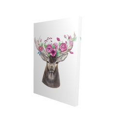 Canvas 24 x 36 - 3D - Deer head with flowers