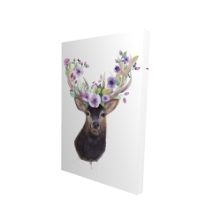 Canvas 24 x 36 - 3D - Roe deer head with flowers