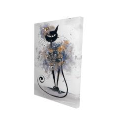 Canvas 24 x 36 - 3D - Cartoon black cat
