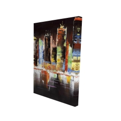 Canvas 24 x 36 - 3D - Cityscape by night