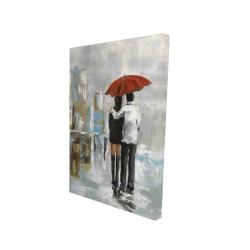 Canvas 24 x 36 - 3D - Couple walking under their umbrella