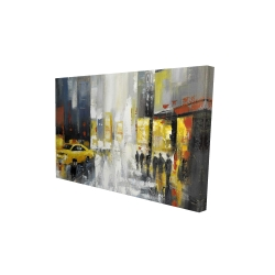 Canvas 24 x 36 - 3D - Rainy busy street