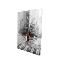 Canvas 24 x 36 - 3D - Greyish flatiron building