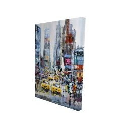 Canvas 24 x 36 - 3D - Urban scene with yellow taxis