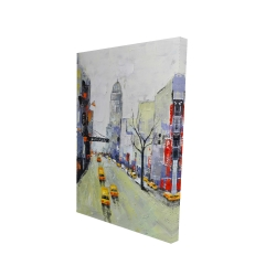 Canvas 24 x 36 - 3D - Gray street with yellow and red accents
